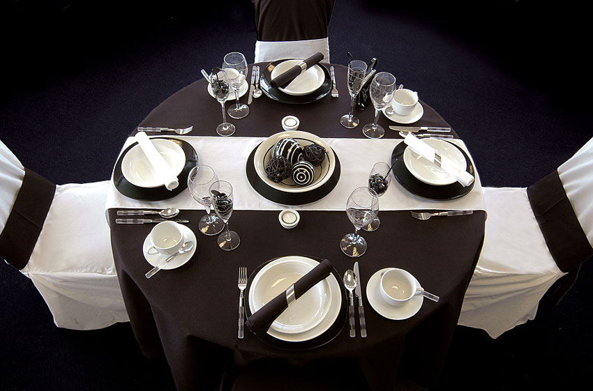 black & white table setting