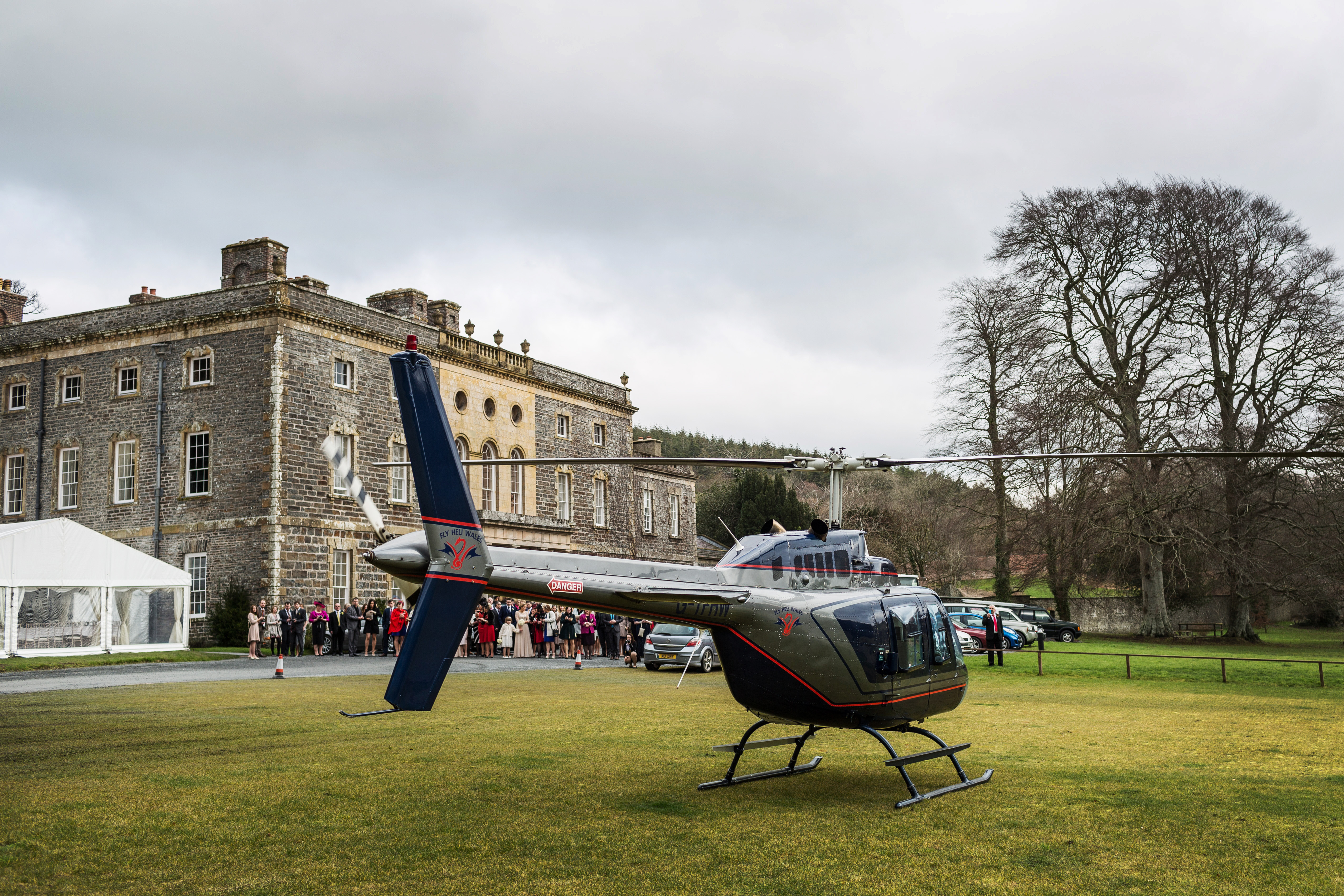 Nanteos wedding marquee with helicopter