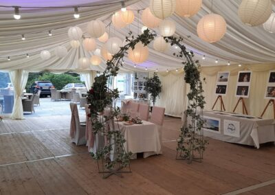 Globe Lanterns in Marquee at Penrallt Hotel, Aberporth, Wales
