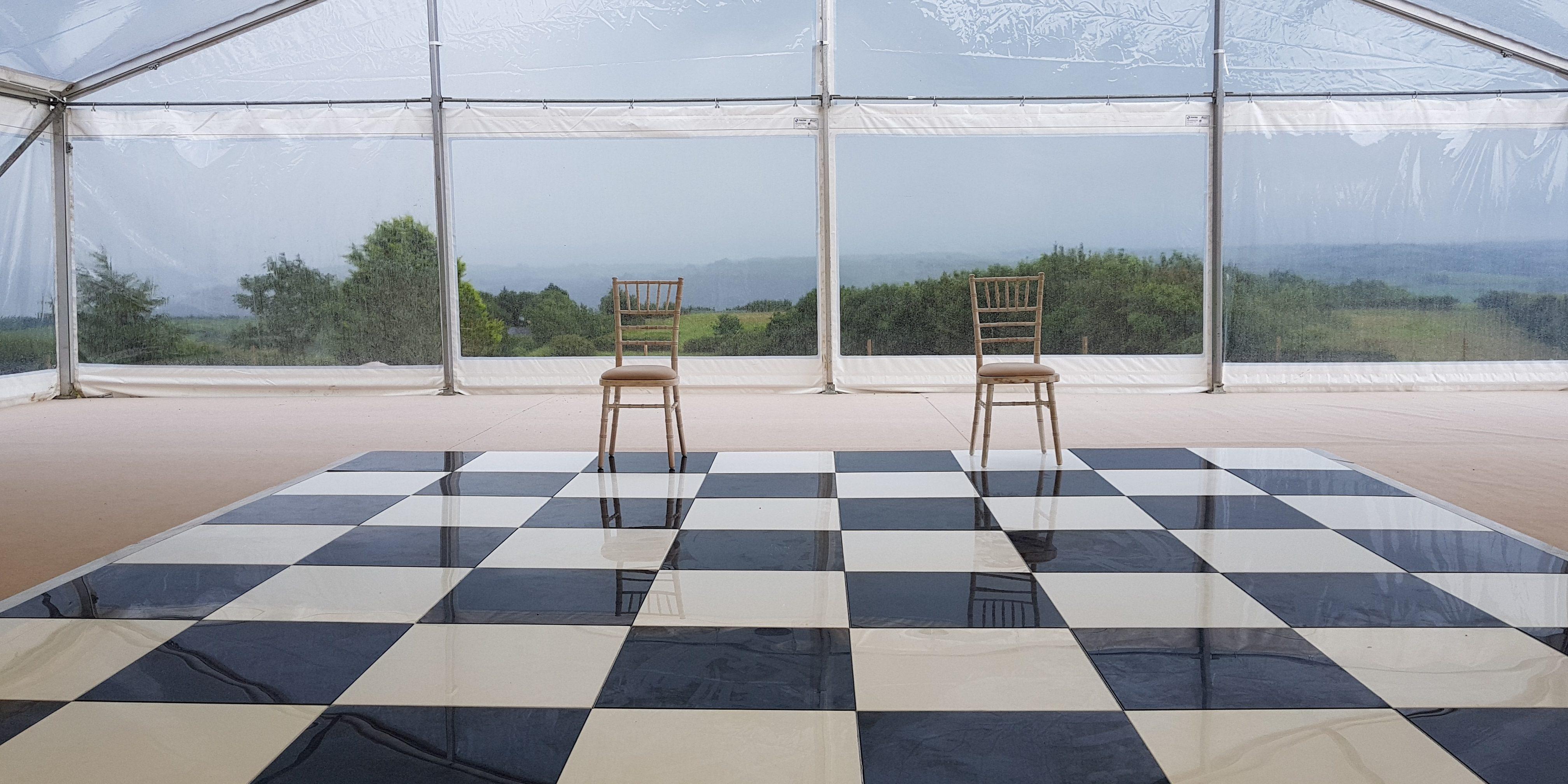 black & white dance floor
